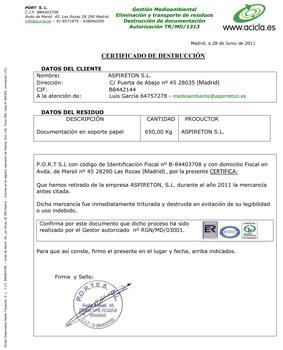 empresa recogida documento destruccion zaragoza: